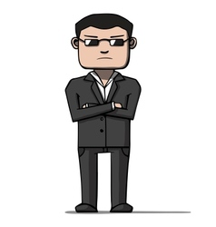 Funny cartoon bodyguard Security vector image
