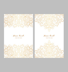 greeting card golden ethnic patterns on white vector image