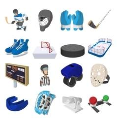 Hockey cartoon icons set vector image