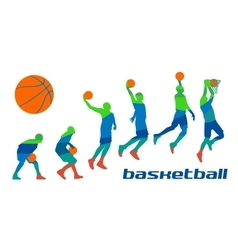 Set different poses basketball players in vector image vector image