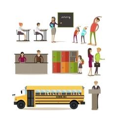 set of school characters design elements vector image vector image