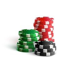 casino chips isolated on white realistic theme vector image