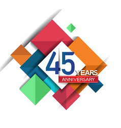 45 years anniversary design colorful square style vector