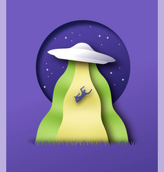 alien ufo abduction at night paper cut concept vector image