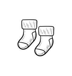 baby pair of socks hand drawn outline doodle icon vector image