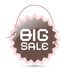 Big sale label - brown and pink retro tag with vector image