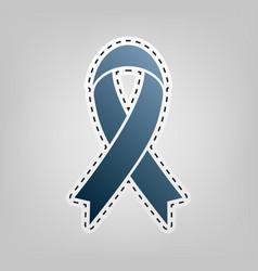 Black awareness ribbon sign blue icon vector