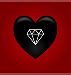 black heart with diamond vector image