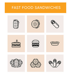 black line icons of different sandwiches vector image