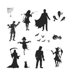 Black silhouettes halloween characters vector