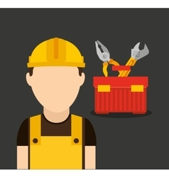 Builder avatar under construction vector