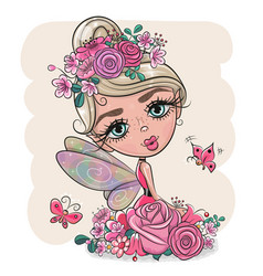 Cartoon fairy girl with flowers on a pink vector