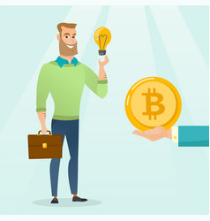caucasian man getting bitcoin coin for start up vector image