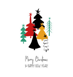 Christmas greeting card with trees vector