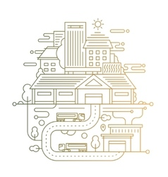 Cityscape and city life - line design composition vector