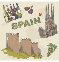 Collection spanish sightseeings and objects vector