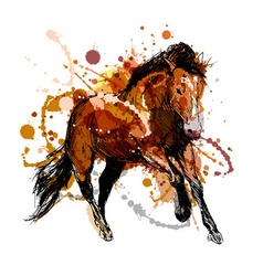 Colored hand sketch of a running horse vector