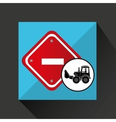Construction truck concept road sign stop design vector
