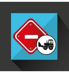 Construction truck concept road sign stop design vector