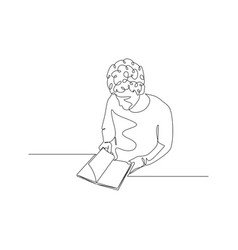 Continuous one line man turns pages a book vector