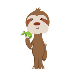 Cute basloth standing and eating apple vector