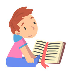 Cute boy reading book young fan literature vector