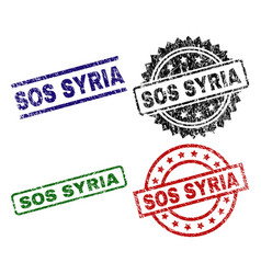 Damaged textured sos syria seal stamps vector