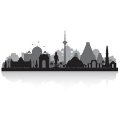 Delhi india city skyline silhouette vector