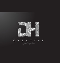 Dh d h letter logo with zebra lines texture vector