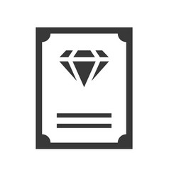 Diamond certificate guarantee jewelry icon glyph vector