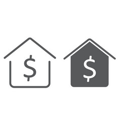 dollar house line and glyph icon real estate vector image