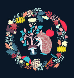 edgehog and fautumn forest elemets fall season vector image