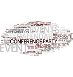 Events word cloud concept vector