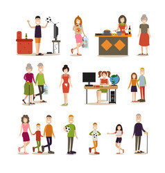 family people flat icon set vector image