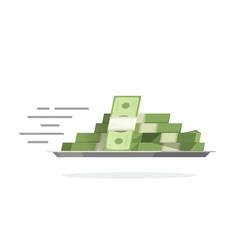 fast flying money pile on tray vector image