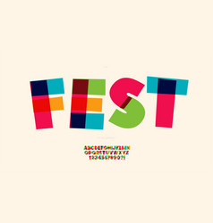 Fest font color style trendy typography vector
