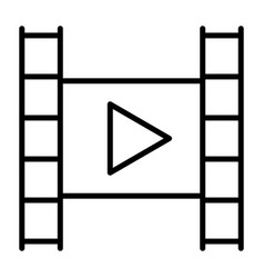 film strip with play button line icon video sign vector image