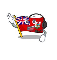 Flag bermuda cartoon on pole with headphone vector