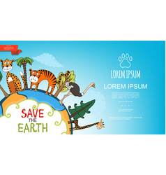 flat colorful save the earth template vector image