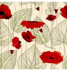 Floral seamless pattern poppy vector image