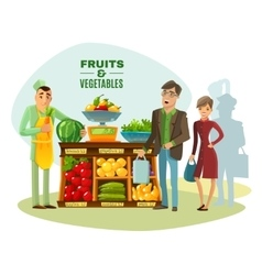 Fruit And Vegetables Seller vector