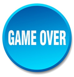 game over blue round flat isolated push button vector image