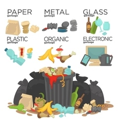 Garbage sorting food waste glass metal and paper vector