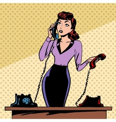 Girl Secretary answers the phone progress and vector image