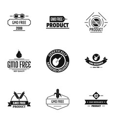 Gmo nourishment logo set simple style vector