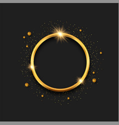 Gold 3d ring circle frame template background vector