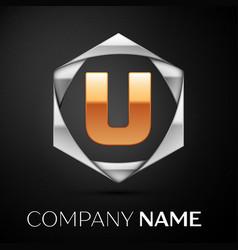 gold letter u logo symbol in the silver hexagonal vector image