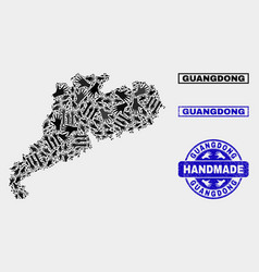 Handmade composition guangdong province map and vector