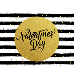 happy valentine day gold glittering greeting card vector image