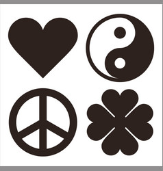 Heart yin yang peace symbol and clover symols vector